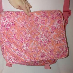 Vera Bradley Pink Quilted Messenger Laptop Bag